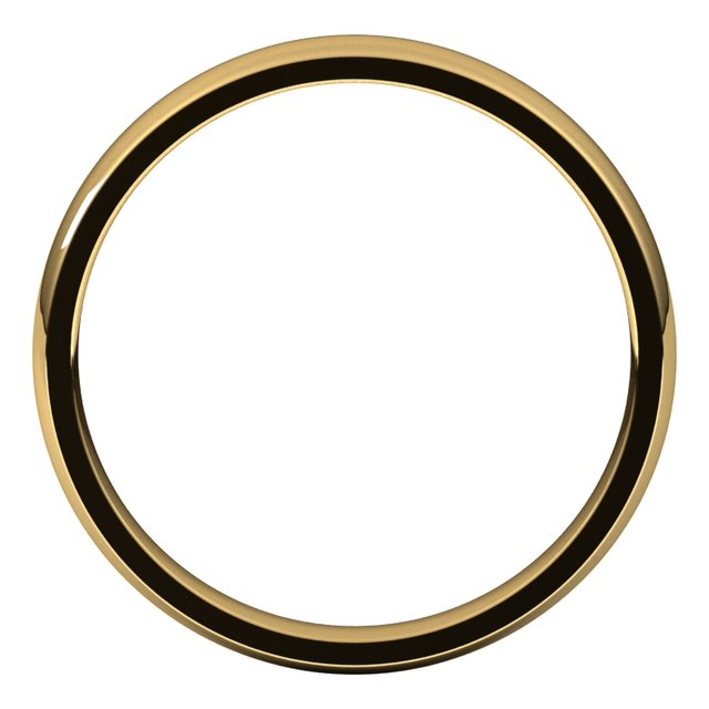 10K Yellow 3 mm Half Round Comfort Fit Light Band Size 7