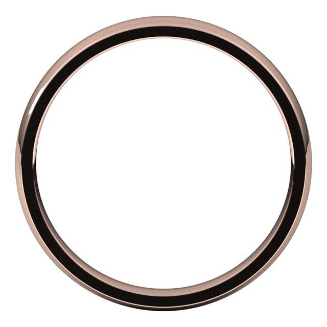 14K Rose 3 mm Half Round Comfort Fit Light Band Size 6.5