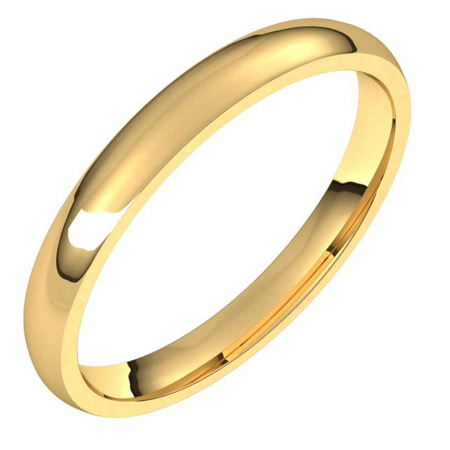 14K Yellow 2.5 mm Half Round Comfort Fit Light Band Size 4.5