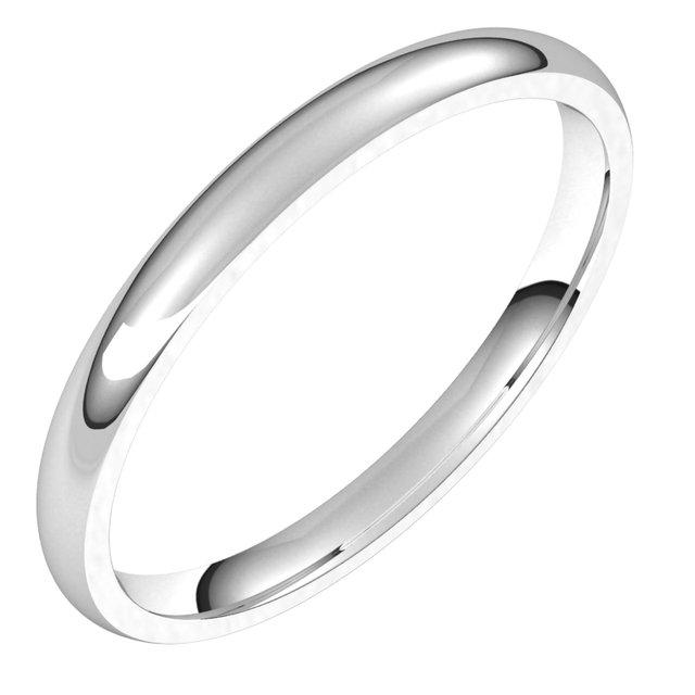 14K White 2 mm Half Round Comfort Fit Light Band Size 12.5
