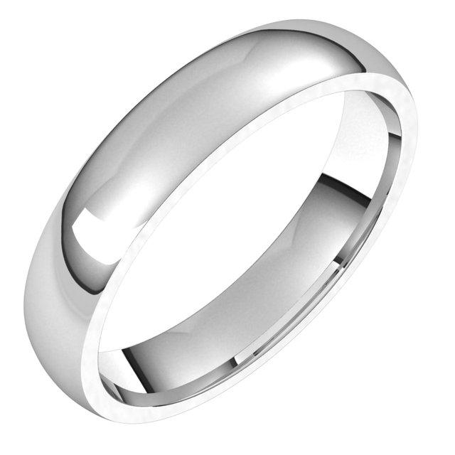 14K White 4 mm Half Round Comfort Fit Light Band Size 13