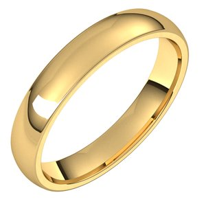 14K Yellow 3.5 mm Half Round Comfort Fit Light Band Size 5.5