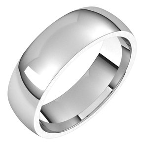 Sterling Silver 6 mm Half Round Comfort Fit Light Band Size 5
