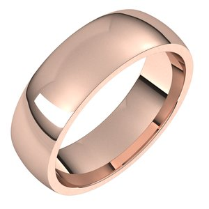 14K Rose 6 mm Half Round Comfort Fit Light Band Size 14.5