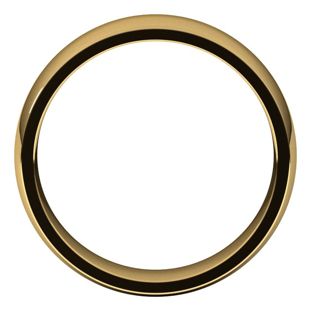 14K Yellow 6 mm Half Round Comfort Fit Light Band Size 10.5