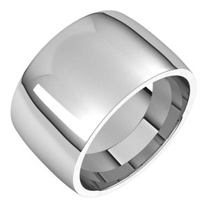 Platinum 12 mm Half Round Comfort Fit Light Band Size 7