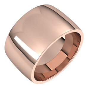 14K Rose 12 mm Half Round Comfort Fit Light Band Size 7