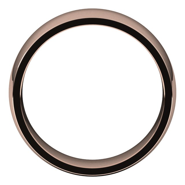 14K Rose 7 mm Half Round Comfort Fit Light Band Size 8