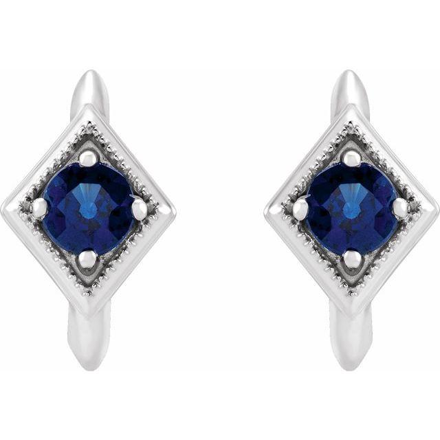 14K White Blue Sapphire Geometric Hoop Earrings