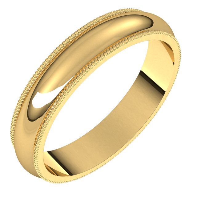 14K Yellow 4 mm Milgrain Half Round Band Size 10.5