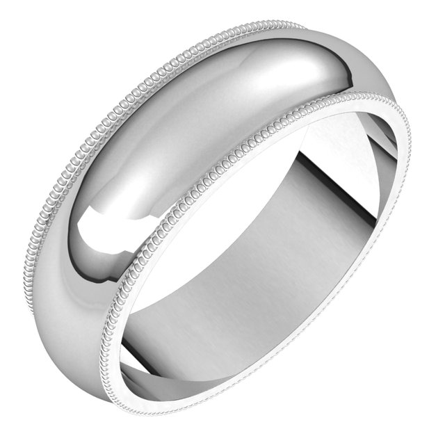 14K White 6 mm Milgrain Half Round Band Size 8
