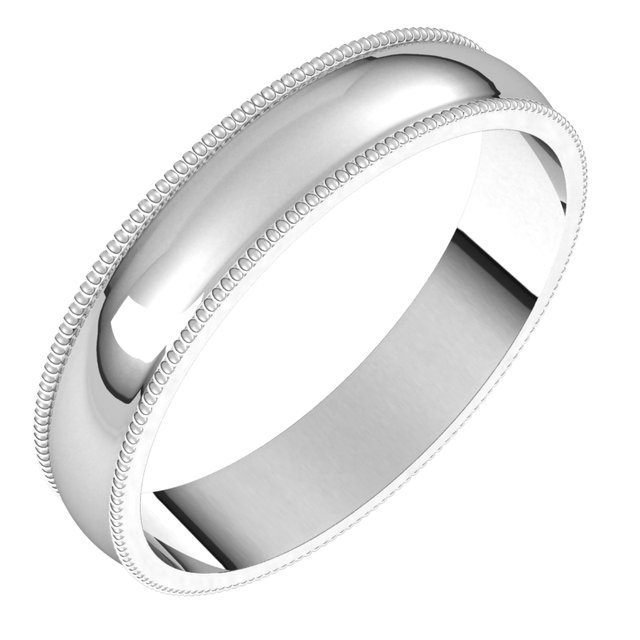 14K White 4 mm Milgrain Half Round Light Band Size 11