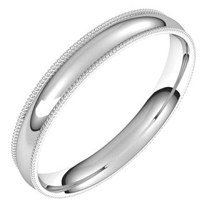 10K White 3 mm Milgrain Half Round Comfort Fit Light Band Size 13.5