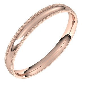 14K Rose 2.5 mm Milgrain Half Round Comfort Fit Light Band Size 6.5
