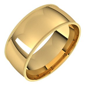 14K Yellow 8 mm Milgrain Half Round Comfort Fit Light Band Size 13