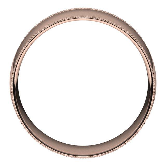 14K Rose 8 mm Milgrain Half Round Comfort Fit Light Band Size 10