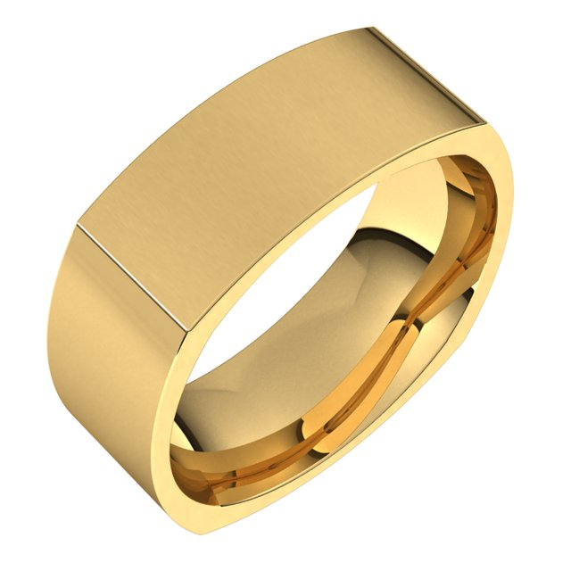 14K Yellow 8 mm Square Comfort Fit Band Size 10