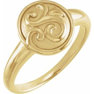 14K Yellow Scroll Design Circle Ring
