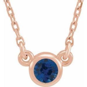 """14K Rose 3 mm Round Blue Sapphire Bezel-Set Solitaire 16"""" Necklace"""