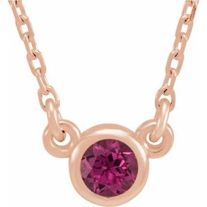 "14K Rose 3 mm Round Pink Tourmaline Bezel-Set Solitaire 16"" Necklace"
