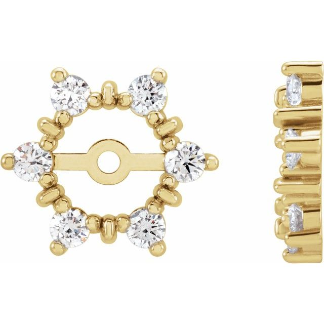 14K Yellow 1/4 CTW Diamond Earring Jackets with 4.7mm ID
