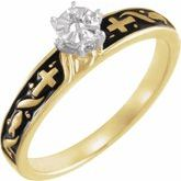 Solitaire Cross Engagement Ring or Band