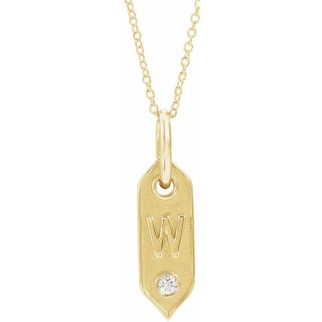 14K Yellow Initial W .05 CT Diamond 16-18