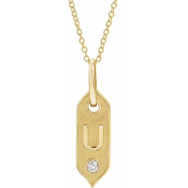 14K Yellow Initial U .05 CT Diamond 16-18