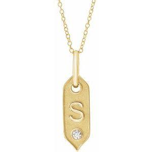 "14K Yellow Initial S .05 CT Diamond 16-18"" Necklace"