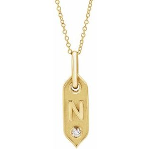 "14K Yellow Initial N .05 CT Diamond 16-18"" Necklace"