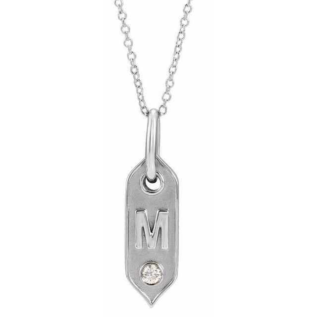 14K White Initial M .05 CT Diamond 16-18