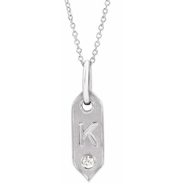 14K White Initial K .05 CT Diamond 16-18
