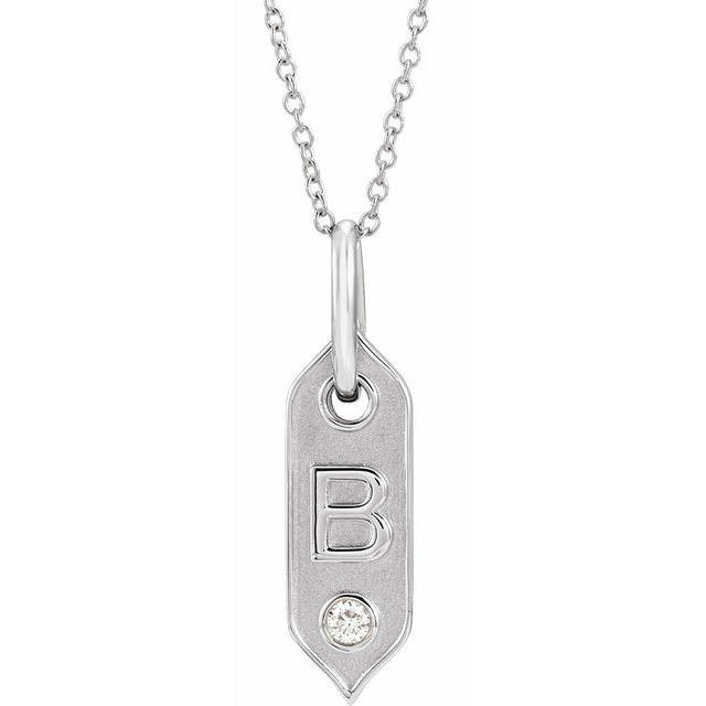 14K White Initial B .05 CT Diamond 16-18