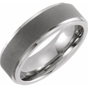 Titanium 7 mm Ridged Oxidized and Polished Band Size 10.5