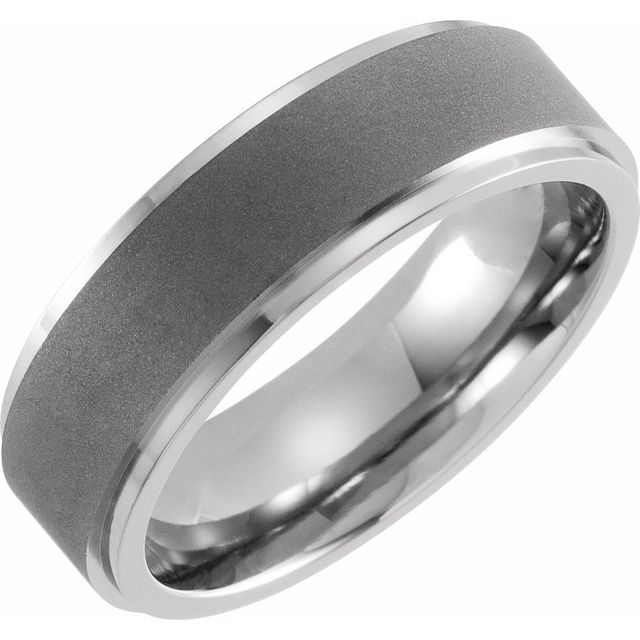 Titanium 7 mm Ridged Oxidized and Polished Band Size 7