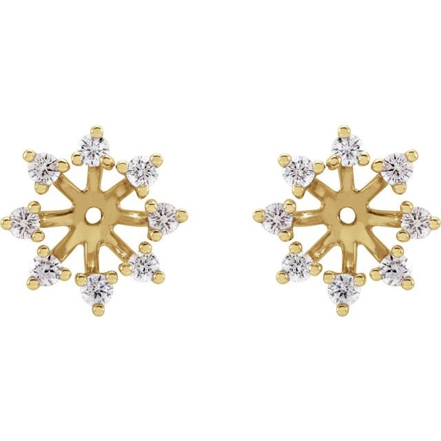 14K Yellow 1/2 CTW Diamond Earring Jackets with 6 mm ID