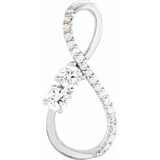 14K White 1/5 CTW Diamond Infinity-Inspired Pendant