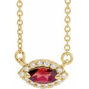"14K Yellow Mozambique Garnet & .06 CTW Diamond 16"" Necklace"