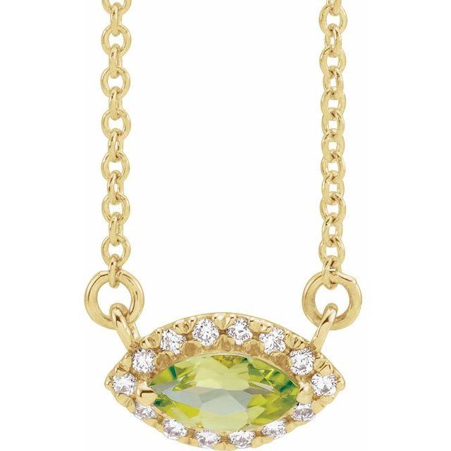 14K Yellow Peridot & .06 CTW Diamond 18