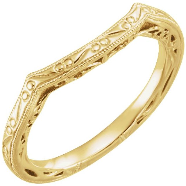 14K Yellow Vintage-Inspired Matching Band for 7 mm Round Ring