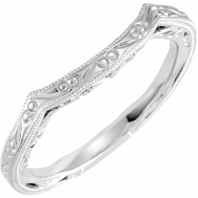 14K White Vintage-Inspired Matching Band for 7.4 mm Round Ring