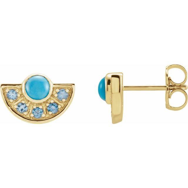 14K Yellow Turquoise & Aquamarine Fan Earrings