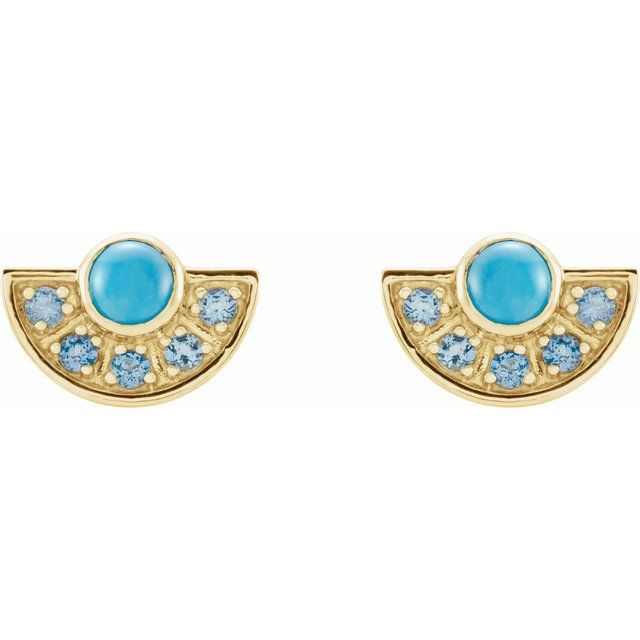 14K Yellow Turquoise & Aquamarine Fan Earrings