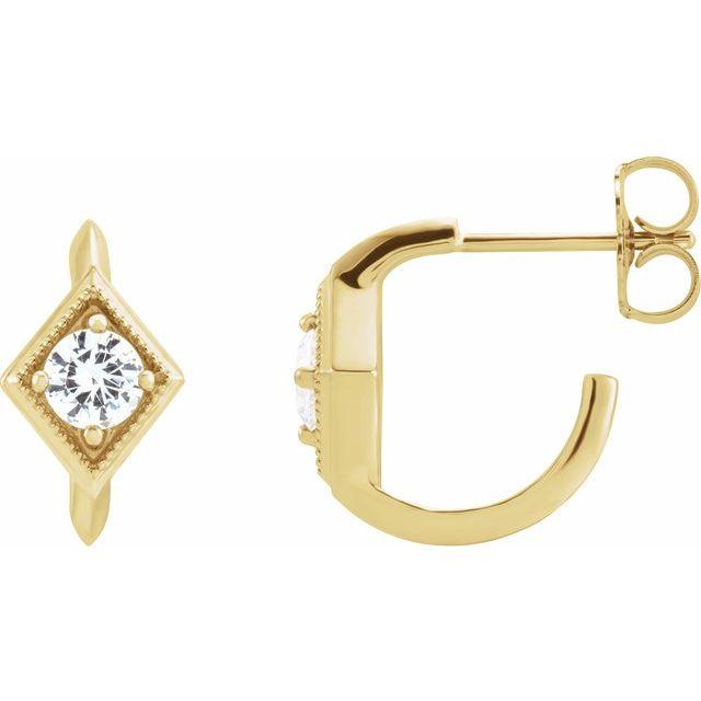 14K Yellow Sapphire Geometric Hoop Earrings