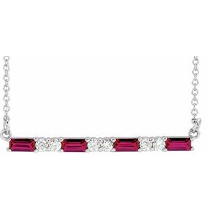 "14K White Chatham® Created Ruby & 1/5 CTW Diamond Bar 16-18"" Necklace"