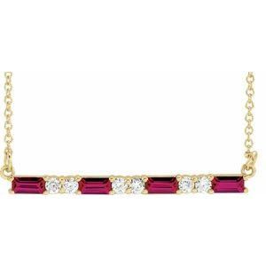 "14K Yellow Lab-Grown Ruby & 1/5 CTW Diamond Bar 16-18"" Necklace"