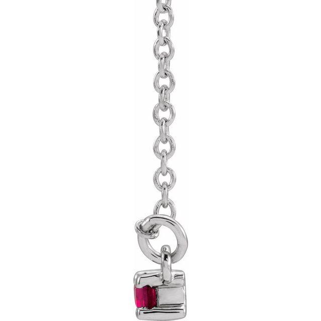 14K White Lab-Grown Ruby & 1/5 CTW Diamond Bar 16-18
