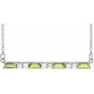 "14K White Peridot & 1/5 CTW Diamond Bar 16-18"" Necklace"