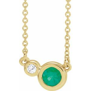 "14K Yellow Chatham® Created Emerald & .02 CTW Diamond 16"" Necklace"