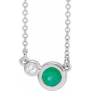 "14K White Emerald & .02 CTW Diamond 16"" Necklace"